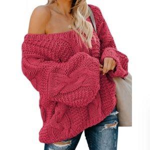 🆕 LAST   Bubblegum Cable Knit Sweater